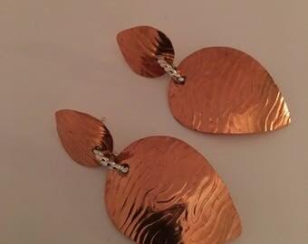 Tear Drop Copper Earrings with Sterling Silver Post