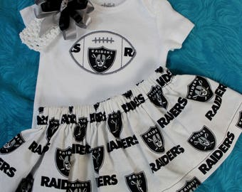 Oakland Raiders 3pc Girls Bodysuit set