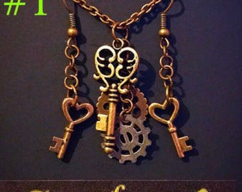 Steampunk Key and Cog Necklace and Earring Set