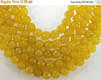 "HOLIDAY SALE 8mm Jade Faceted Round, Spicy Mustard Yellow, 15 "", 47 Beads, Yellow gemstone Beads - SJA203"