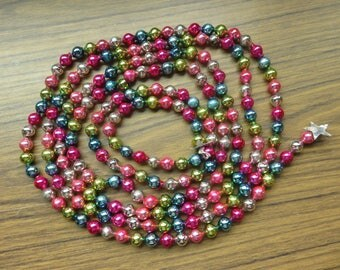 Vintage Glass Bead Christmas Tree Garland 107 inches Long