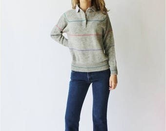 Spectacular Sale 25% off 80's Knit Sweater Pink Blue Green Peter Pan Horizontal Striped Collar Grey Size 36/38
