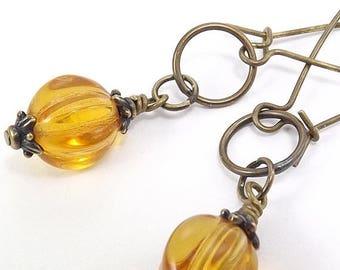 END Of SUMMER SALE Antique Brass Earrings - Czech Amber Melon Glass Beads