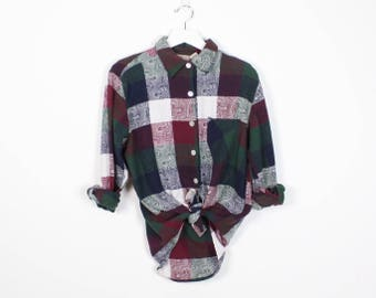 Vintage 90s Plaid Shirt Green Burgundy Navy White Buffalo Plaid Paisley Soft Grunge Shirt 1990s Boyfriend Shirt Long Sleeve Hipster M L