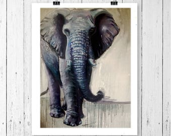 ELEPHANT ART PRINT - elephant print, elephant gift, elephant painting, elephant decor, elephant wall art, elephant lover, animal prints,