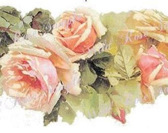 VinTaGe XL TeA RoSe SWaGs ShaBbY DeCALs ~FurNiTuRe SiZe~