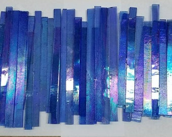 BLUE Iridized Glass Strips for Mosaic work or art project in glass 1.5 Lbs