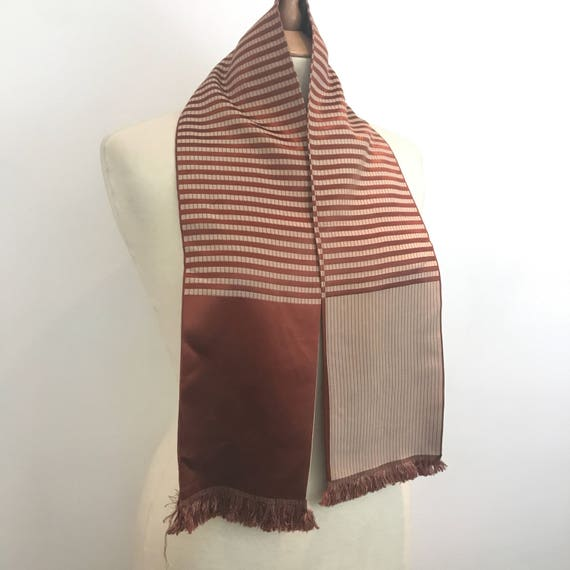 1940s scarf striped satin brick red stripes neck tie evening scarf 40s burnt orange silky fringed 1930s accesory 30s neckerchief