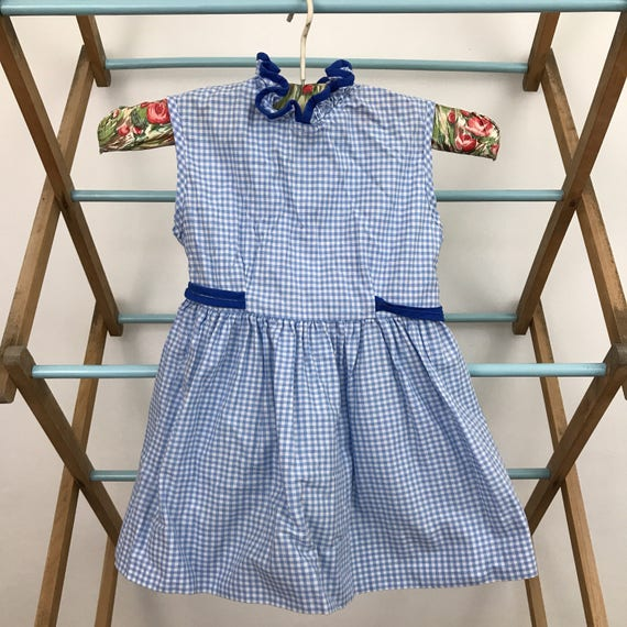 Vintage girls dress 1950s cotton dress blue check plaid gingham dress 50s baby blue age 12 18 months frilly