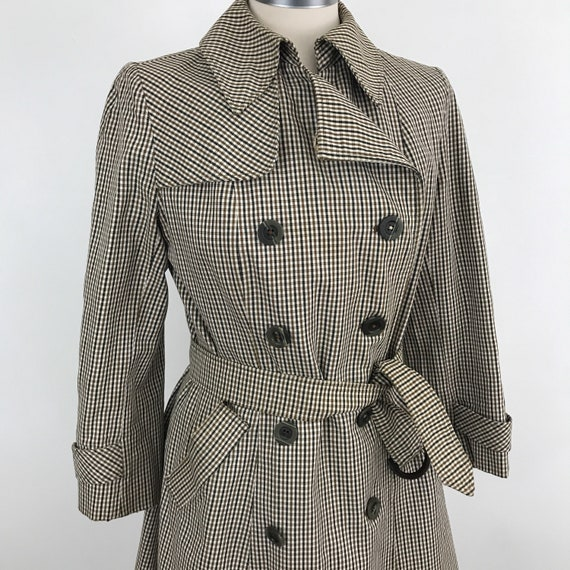 Aquascutum mac classic checkered trench coat cotton weight macintosh double breasted scarlet vintage 1970s raincoat designer UK 10