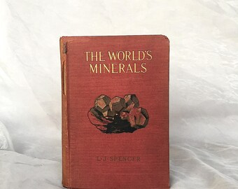 World's Minerals - Antique Mineral Book - Antique Mineral Prints - Vintage Mineral Prints - Mineral Decor - Mineralogy Book - Mineral Gift