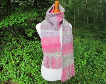 Crochet Scarf, Crochet Womens Scarf, Pink and Grey Crochet Scarf by CROriginals