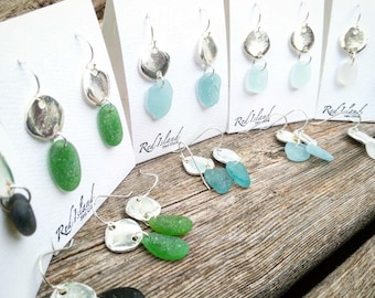 Sea glass & Silver Circles// Sea glass earrings// Choose your colour!