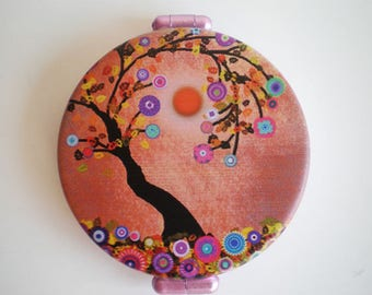 Pocket mirror, Hand mirror, Tree, Printed pocket mirror, Tree pocket mirror, Gift for her, Woman gift, Gift idea