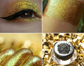 Eyeshadow: Flying on the Sun Dragon  - Dragonblood.  From gold to green shimmer eyeshadow by SIGIL inspired.