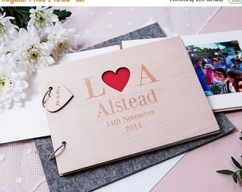 Personalised Heart Initials Wooden Guest Book