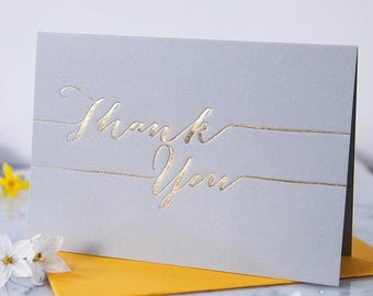 Luxury Hand Pressed 'Thank You' Card - Gold Foil Thank You - Wedding Thank You Card - Greetings Card - Blank Card - Thank You Note