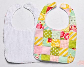 Patchwork Baby Girl Bib, Handmade Baby Bib, Baby Bibs, Quilted Bib, Baby Shower Gift, Pink, Yellow, Green, Turquoise Handmade Baby Girl Gift