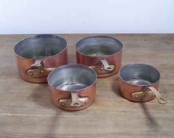 4pc set lot Antique French copper cookware pots pans tin lined