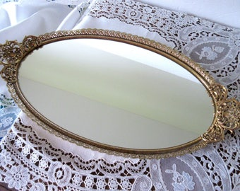 Vanity Tray Mirror by Matson  Chic Romance Hollywood Oval Dresser Tray with Gold Filigree.