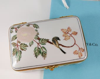 Tiffany & Co. Porcelain Hand Painted 4 Inch Hinged Trinket Box Made in France