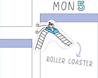 Roller Coaster PLANNER STICKERS - 16 count sticker sheet