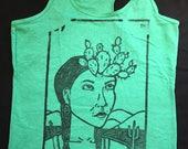 CLEARANCE MISPRINT- Size Women's LARGE, El Nopal - Loteria (Mexican Bingo) Design, Heather Green Women's Tank, Con El Nopal en la Frente