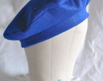 Royal Blue Felt French Beret-Tam