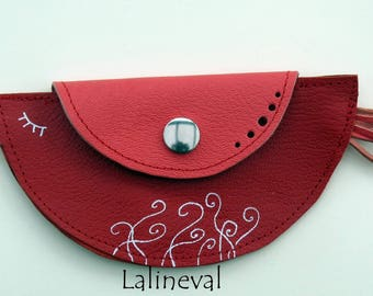 Bird in pink and red leather wallet