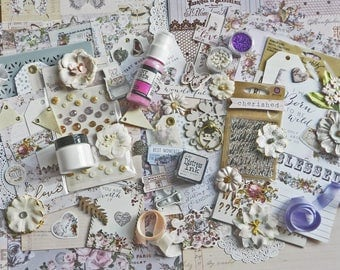 Mixed Media Kit  / Prima Lavender / Scrapbook Kit 12x12 / Purple Scrapbook / Shabby Chic / Embellishments / Scrapbooking Kits / Art Supplies