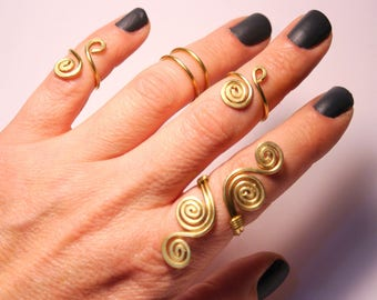 5 Gold Knuckle Rings / Gold Knuckle Rings / Gold Ring Set / Gold Stacking Rings / Above the Knuckle Ring / Midi Rings / Gold Ring Set of 5