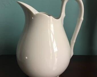 """Antique Limoges White Porcelain Pitcher 8"""" x 6"""" wide"""