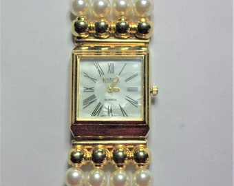 Joan Rivers Watch - Mother of Pearl Face and Faux Pearls - S2389