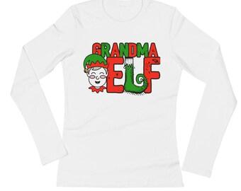 Grandma Elf Family Portrait Christmas Picture
