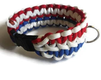 PawAcord Patriotic Non-Adjustable Trio Color Paracord Dog Collar - Cute Dog Collar - Strong Dog Collar in Red, White and Blue