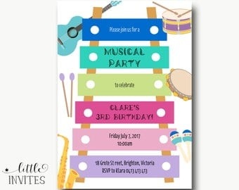 Musical Birthday Invitation/Sing and dance Birthday Invitation/1st/2nd/3rd/4th/5th/Any age/Let's Rock Invitation/Birthday Invitation-Clare