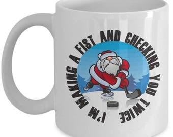 Making a Fist Funny Ice Hockey Christmas Mug Gift Coffee Cup Xmas Sarcastic