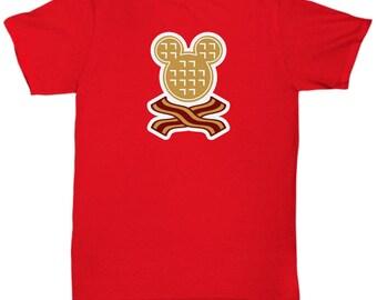 Mickey Waffles Bacon Disney Fun Gift Shirt Disneyland Breakfast Brunch Waffle Mouse
