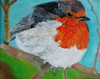 Bird Painting, Robin painting, Original oilpainting, Christmas gift