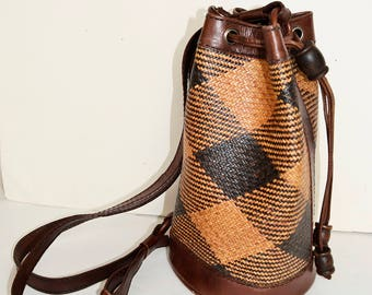 Rattan and leather backpack, rattan bag, bohemian bag, wicker bag, rattan bag, leather backpack