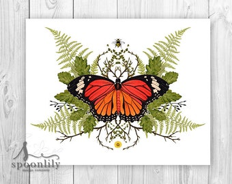 Vintage Botanical Style Butterfly Art, Butterfly Art Print, Botanical Butterfly Wall Art, Butterfly Art, Botanical Decor, Butterfly Artwork