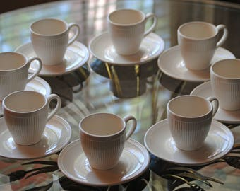 8 Ivory WEDGEWOOD WINDSOR cup and saucer sets made in England - discontinued  pattern