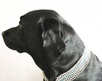 Chainmail dog collar - pet jewelry - chainmaille dogcollar - sturdy aluminum dog collar