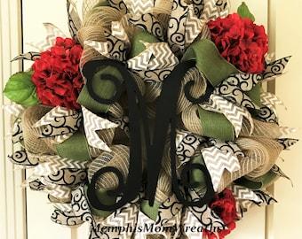 """Reserve Order: """"P"""" Monogram Burlap and Hydrangea Deco Mesh Wreath - Monogram Wreath - Burlap Wreath - Hydrangea Wreath"""