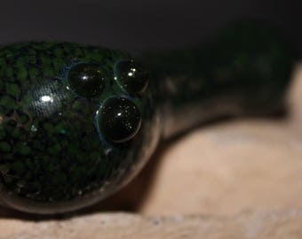 Glass Smoking Pipe, Green and Black Frit