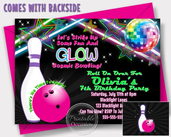 Girls glow bowling invitations bowling birthday party cosmic il570xn filmwisefo