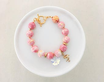 LIMITED EDITION - New Flamingo Beaded Bracelet  - Gold - Summer Collection
