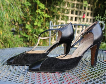 Vintage Kurt Geiger 1970s Black High-Heel T-Bar Shoes -Leather Suede Stilettos - Vintage Shoes - Size 6