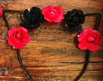 Floral Black & Red Cat Ears Headband