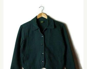 ON SALE Vintage Plain Dark Green Cotton Shirt Jacket  from 90's*